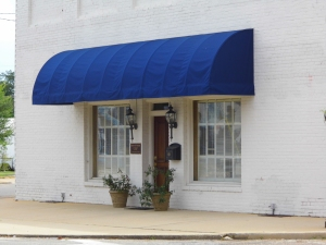 Striped Awning With Scalloped Fringe Installed By King Glass Inc